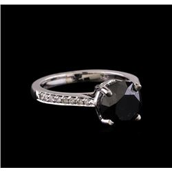 3.85 ctw Black Diamond Ring - 14KT White Gold
