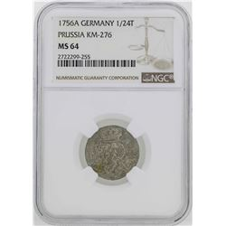 1756-A Germany Prussia 1/24 Thaler Coin NGC MS64