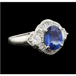 2.20 ctw Sapphire and Diamond Ring - Platinum