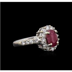 1.78 ctw Ruby and Diamond Ring - 14KT White Gold