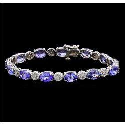 16.02 ctw Tanzanite and Diamond Bracelet - 14KT White Gold