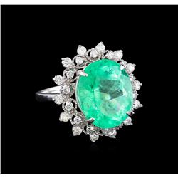 9.08 ctw Emerald and Diamond Ring - 14KT White Gold