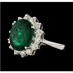 3.81 ctw Emerald and Diamond Ring - 14KT White Gold