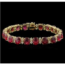 38.40 ctw Ruby and Diamond Bracelet - 14KT Yellow Gold