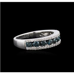 14KT White Gold 1.02 ctw Blue Diamond Ring