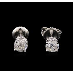 1.09 ctw Diamond Solitaire Earrings - 14KT White Gold