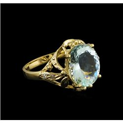3.55 ctw Aquamarine and Diamond Ring - 14KT Yellow Gold