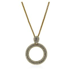 Crystal Pave Circle Pendant Necklace - Gold Plated