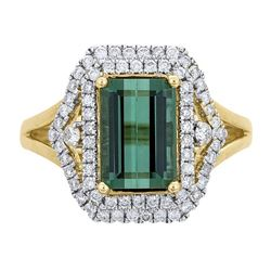 2.99 ctw Tourmaline and Diamond Ring - 14KT Yellow Gold
