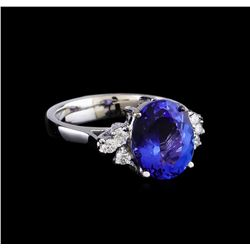 3.20 ctw Tanzanite and Diamond Ring - 14KT White Gold