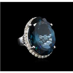 14KT White Gold 32.12 ctw Topaz and Diamond Ring