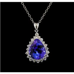GIA Cert 17.75 ctw Tanzanite and Diamond Pendant With Chain - 14KT White Gold