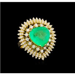 14KT Yellow Gold GIA Certified 7.47 ctw Emerald and Diamond Ring