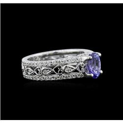 1.04 ctw Tanzanite and Diamond Ring - 18KT White Gold