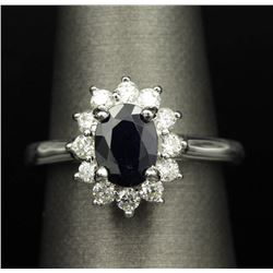 1.82 ctw Sapphire and Diamond Ring - 14KT White Gold