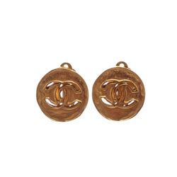 Chanel Gold Cut Out CC Logo Disc Clip On Earrings