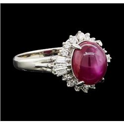 4.34 ctw Star Ruby and Diamond Ring - Platinum