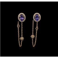 2.05 ctw Tanzanite and Diamond Earrings - 14KT Rose Gold