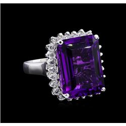 13.08 ctw Amethyst and Diamond Ring - 14KT White Gold