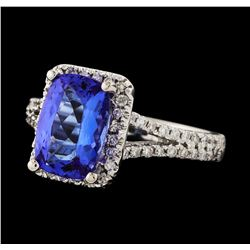 2.26 ctw Tanzanite and Diamond Ring - 14KT White Gold