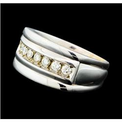 0.60 ctw Diamond Ring - 14KT Yellow Gold With Rhodium Plating