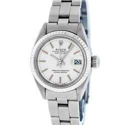 Rolex Ladies Stainless Steel Silver Index Fluted Bezel Oyster Band Datejust Wris