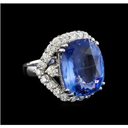 GIA Cert 17.78 ctw Blue Sapphire and Diamond Ring - 14KT White Gold