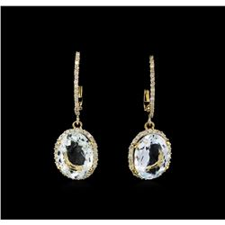 6.00 ctw Aquamarine and Diamond Earrings - 14KT Yellow Gold
