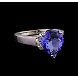 3.86 ctw Tanzanite and Diamond Ring - 14KT White Gold