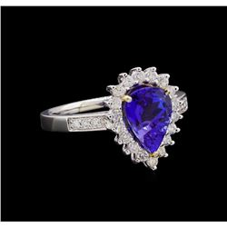 14KT Two-Tone Gold 1.92 ctw Tanzanite and Diamond Ring