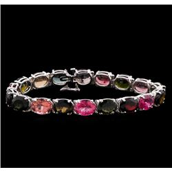 42.06 ctw Multi Color Tourmaline Bracelet - 14KT White Gold