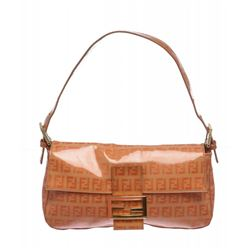 Fendi Orange Coated Canvas Zucca Baguette Shoulder Handbag