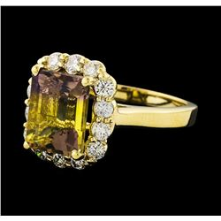 3.73 ctw Ametrine and Diamond Ring - 14KT Yellow Gold