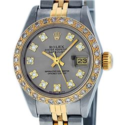 Rolex Ladies Two Tone Slate Grey VS Diamond Datejust Wristwatch