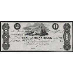 Reprint 1823 $2 Tradesmen's Bank Obsolete Note