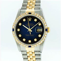 Rolex Two-Tone Diamond Blue Vignette and Sapphire DateJust Men's Watch
