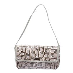 Salvatore Ferragamo White Multicolor Coated Canvas Small Shoulder Handbag