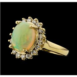 2.42 ctw Opal and Diamond Ring - 14KT Yellow Gold