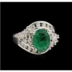 14KT White Gold 2.76 ctw Emerald and Diamond Ring