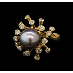 Tahitian Pearl and Diamond Ring - 14KT Yellow Gold