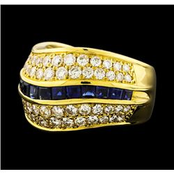 1.24 ctw Sapphire and Diamond Ring - 18KT Yellow Gold