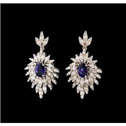 14KT White Gold 1.86 ctw Sapphire and Diamond Earrings