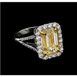 EGL USA Cert 5.84 ctw Fancy Yellow Diamond Ring - 18KT-Platinum Two-Tone Gold