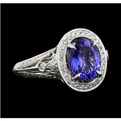 2.69 ctw Tanzanite and Diamond Ring - 18KT White Gold