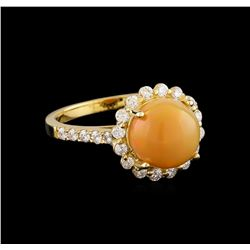 1.95 ctw Opal and Diamond Ring - 14KT Yellow Gold