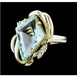5.20 ctw Aquamarine and Diamond Ring - Platinum and Yellow Gold