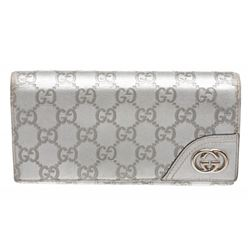 Gucci Silver Guccissima Leather Monogram Long Wallet