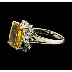 4.24 ctw Imperial Topaz and Diamond Ring - Platinum