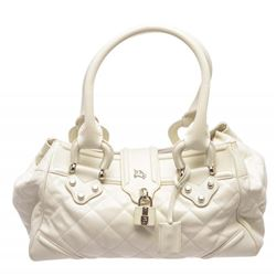 Burberry White Quilted Leather Shoulder Bag