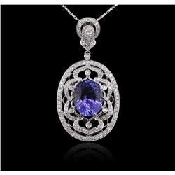 14KT White Gold 8.01 ctw Tanzanite and Diamond Pendant With Chain